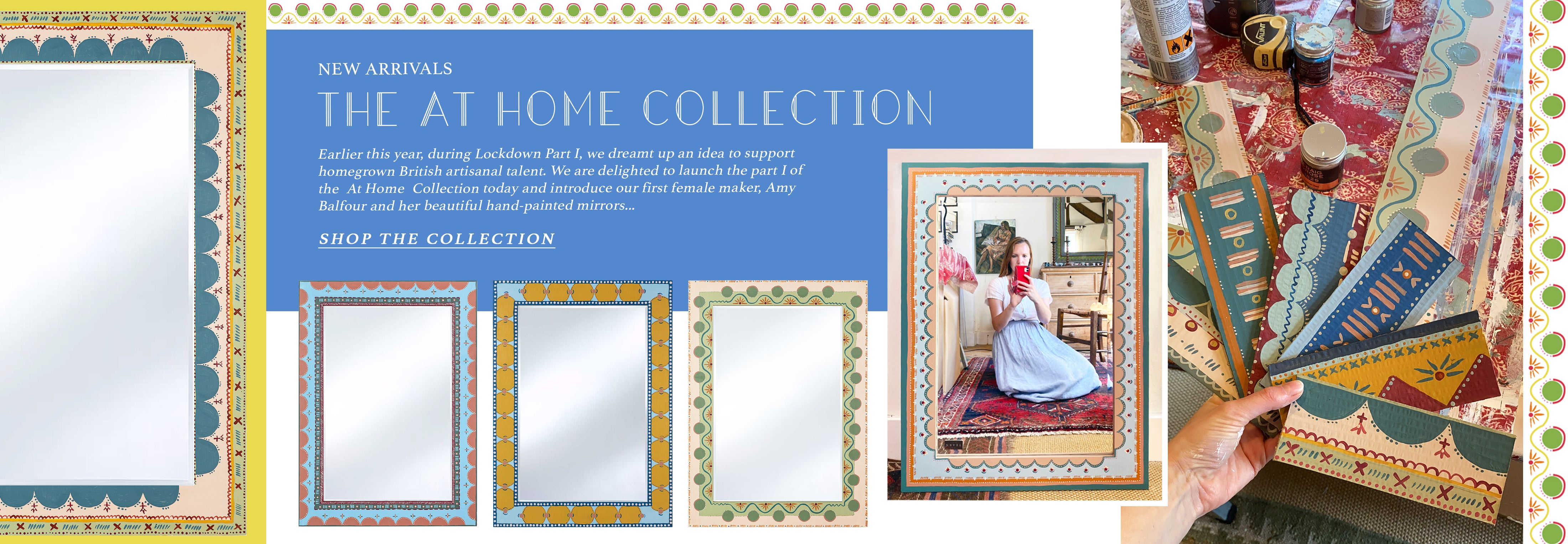 Amy Balfour X Wicklewood colourful hand-painted mirrors inspired by The Bloomsbury Group