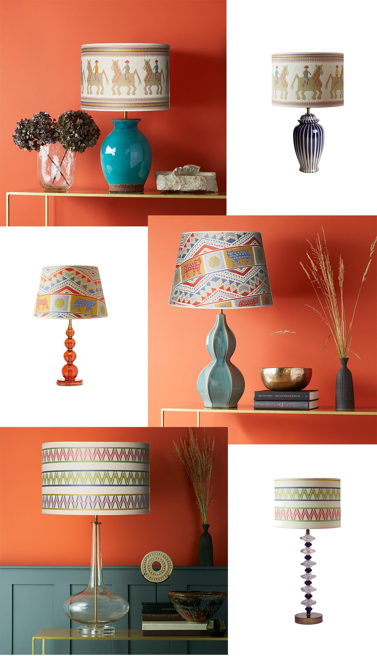 Wicklewood X Pooky lampshade collaboration - bright bold and colourful lampshades for your home