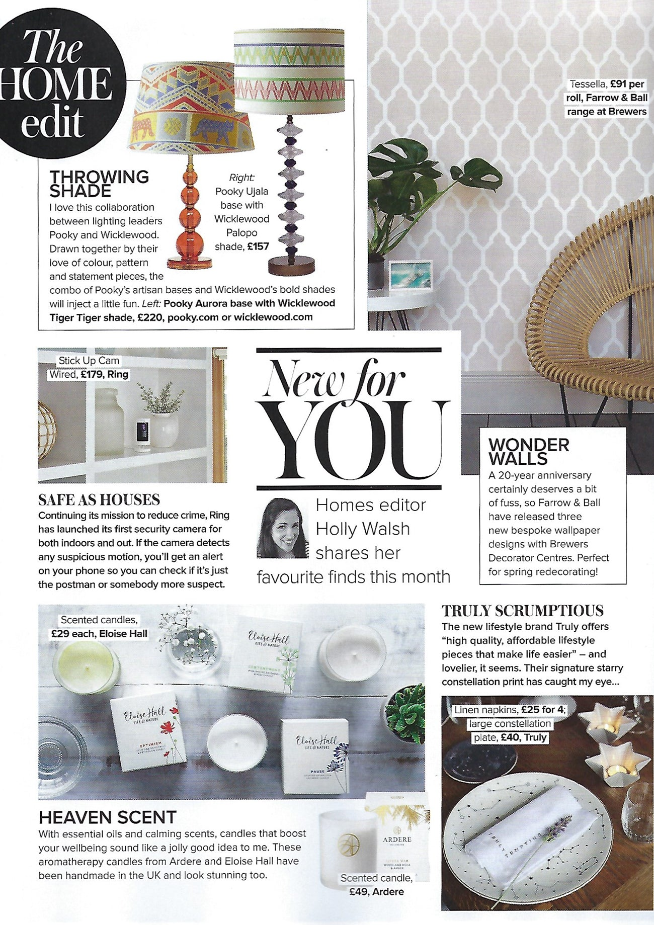 Woman and home magazine features Wicklewood x Pooky lampshades in their March 2019 issue