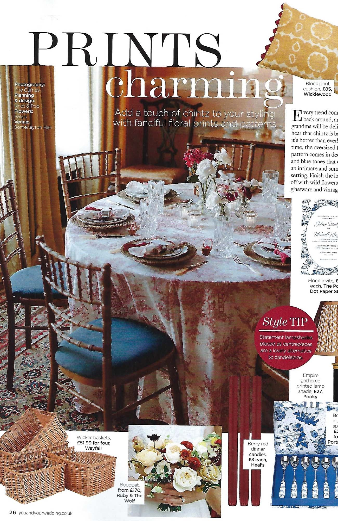 Wicklewood osborne cushion featured in You and Your Wedding Magazine