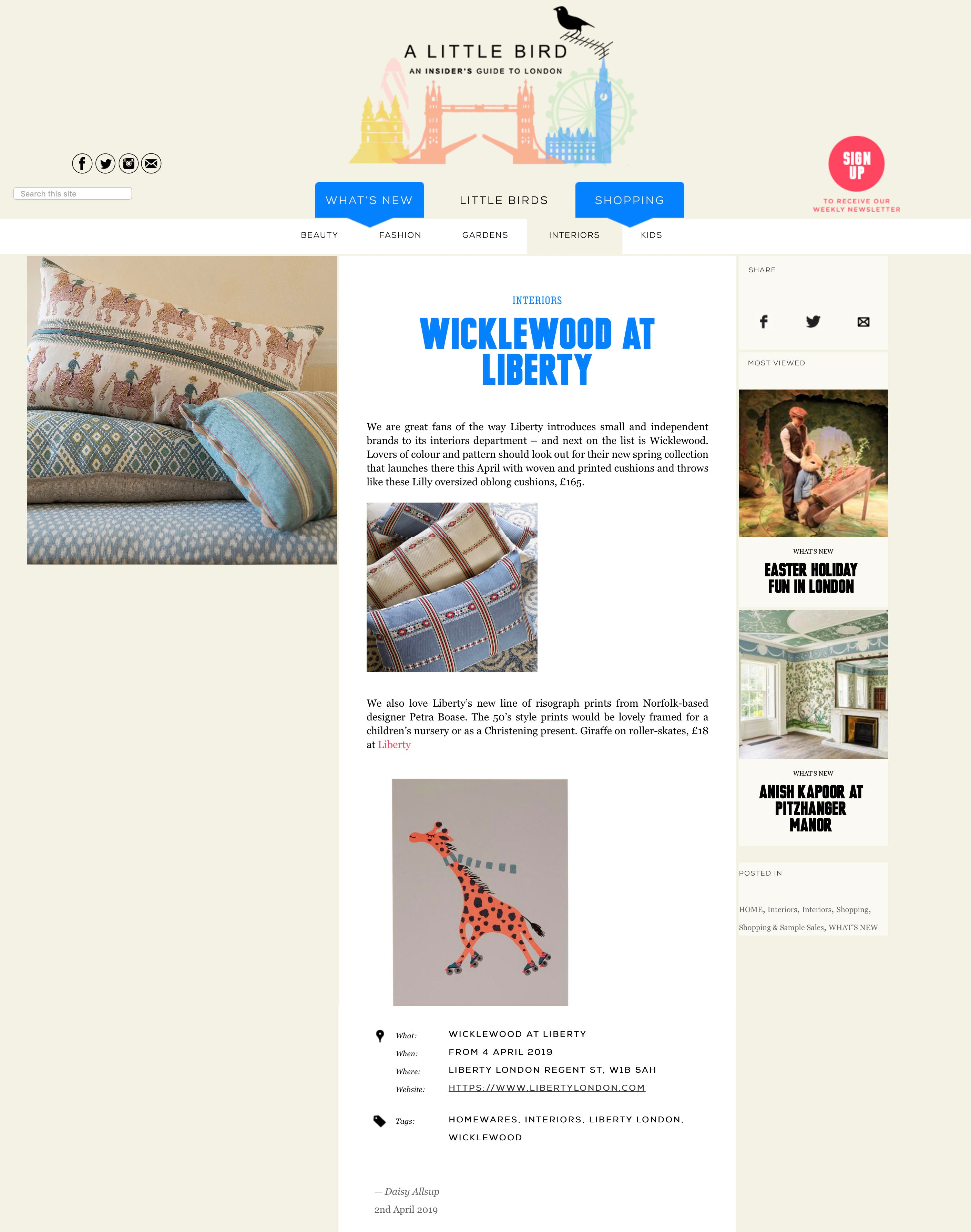 Wicklewood launches at Liberty featured on the A Little Bird London blog in April 2019