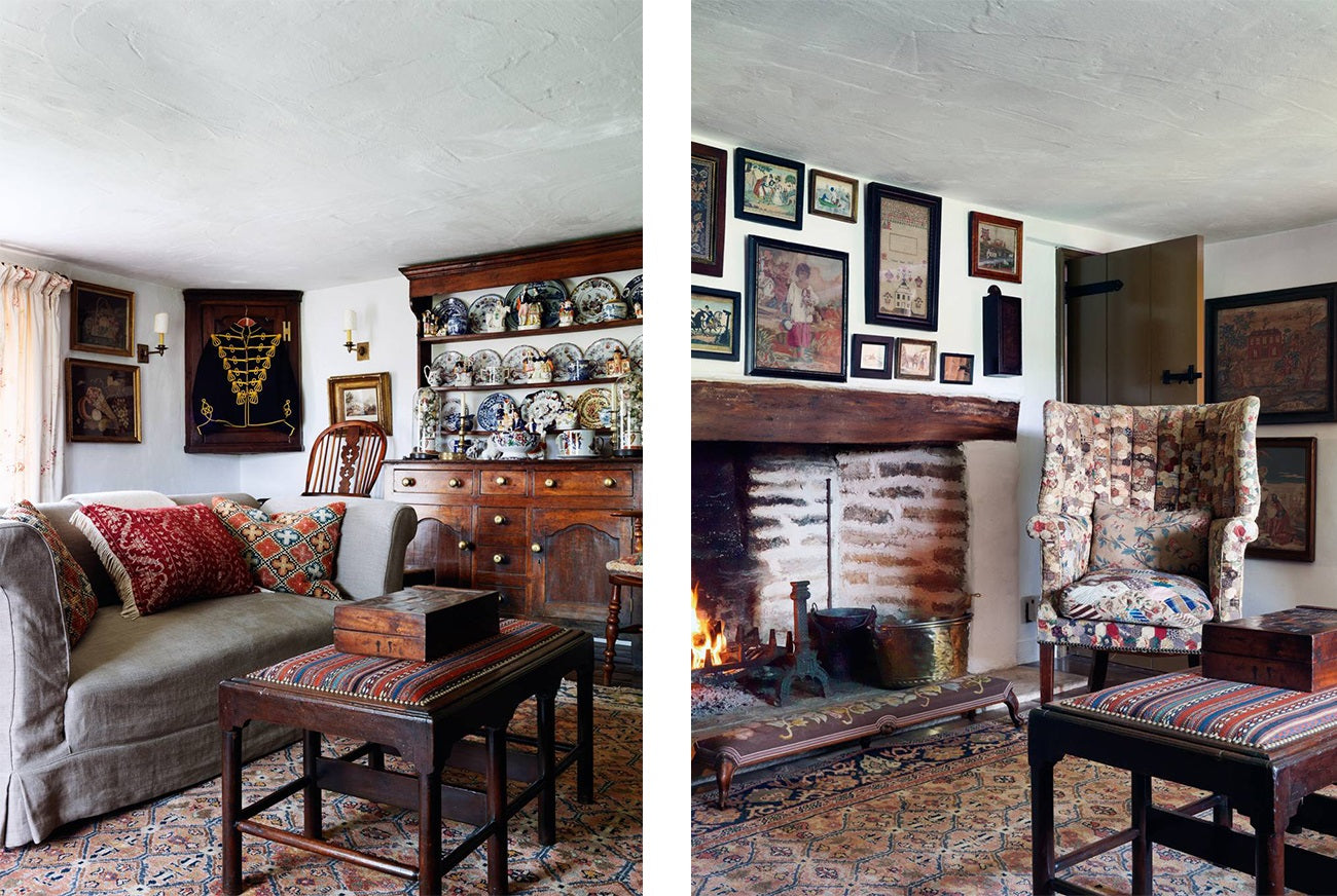 Alexandra Tolstoi's Oxfordshire traditional cottage decorated with help of Colefax & Fowler