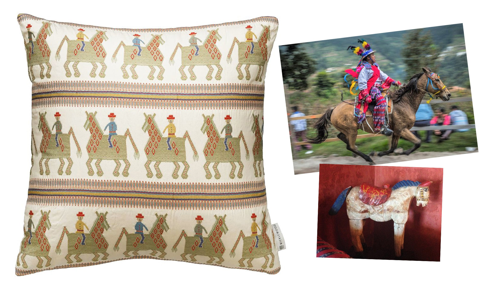 The caballo cushion was inspired by Lilly de Jongh Osborne collection as well as the All Saints celebration in Guatemala where men race horses