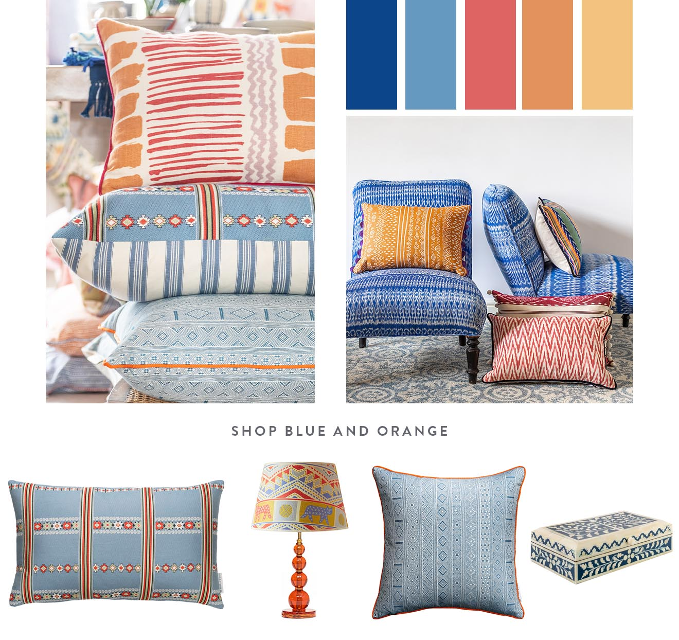 Unusual colour combinations that work - blue and orange. Bright bold colours that sit perfectly alongside each other in your home