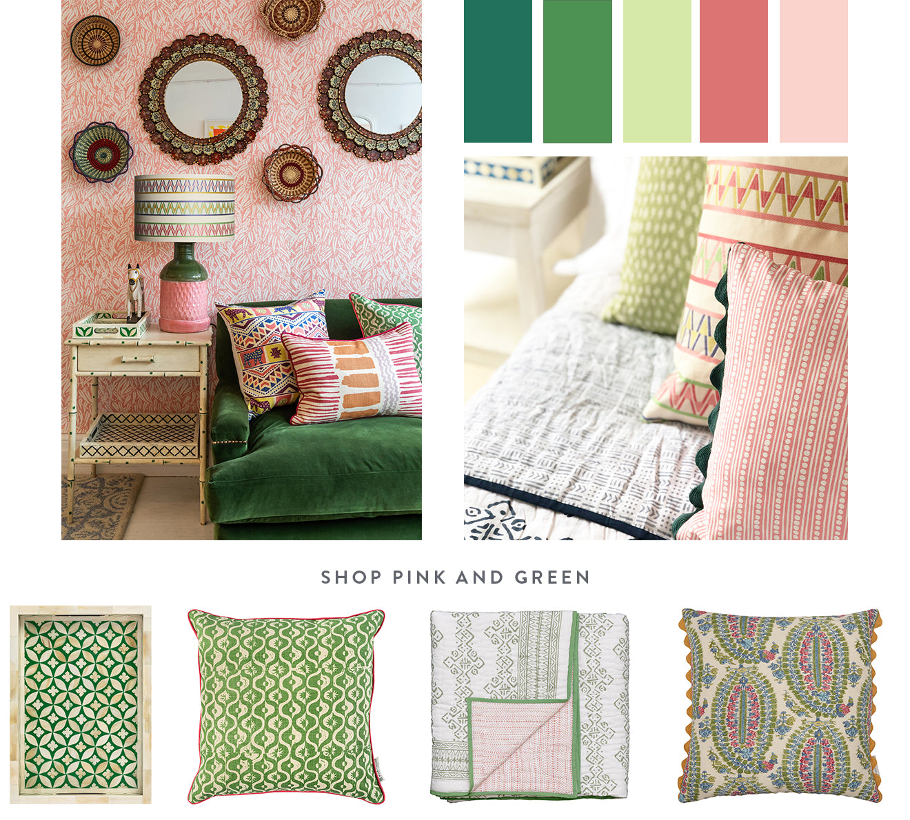 Unusual colour combinations that actually work in your home including pink and green, an unlikely but perfect match