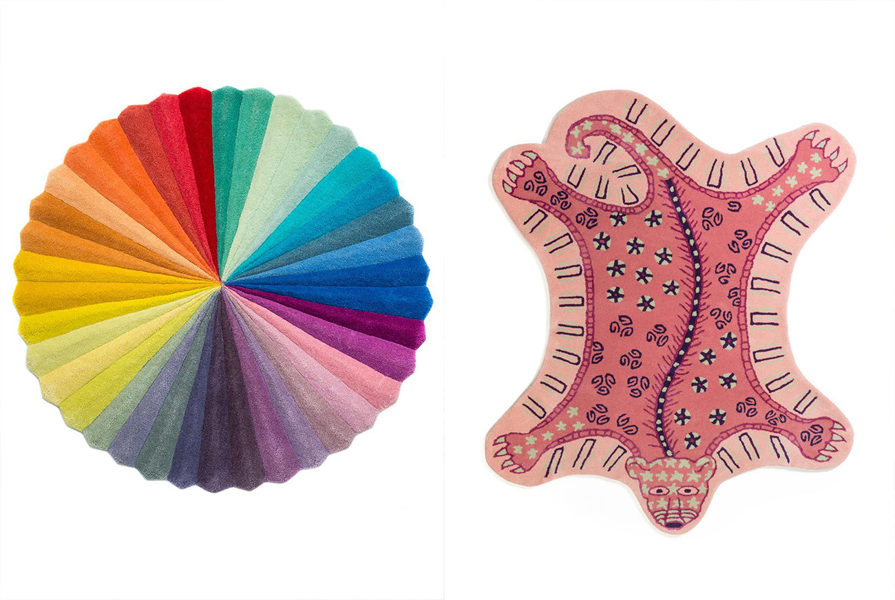 Colourful rugs designed by Kitty Joseph and Zandra Rhodes for Floor Story