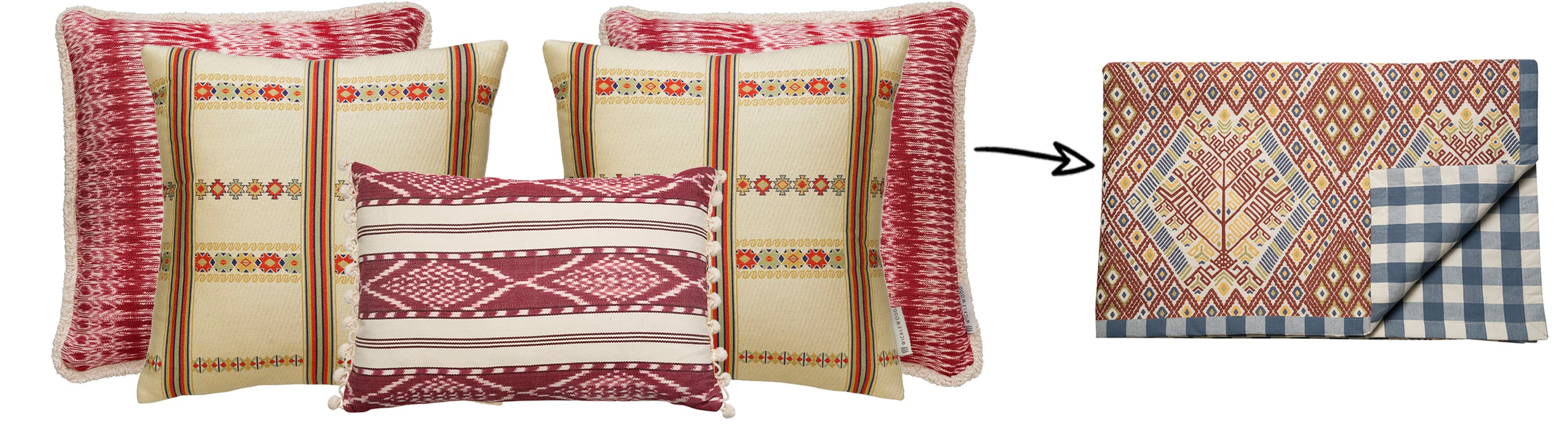 Wicklewood's top festive cushions combos, including a red chalet themed look to help inspire you to decorate your home differently this Holliday season.