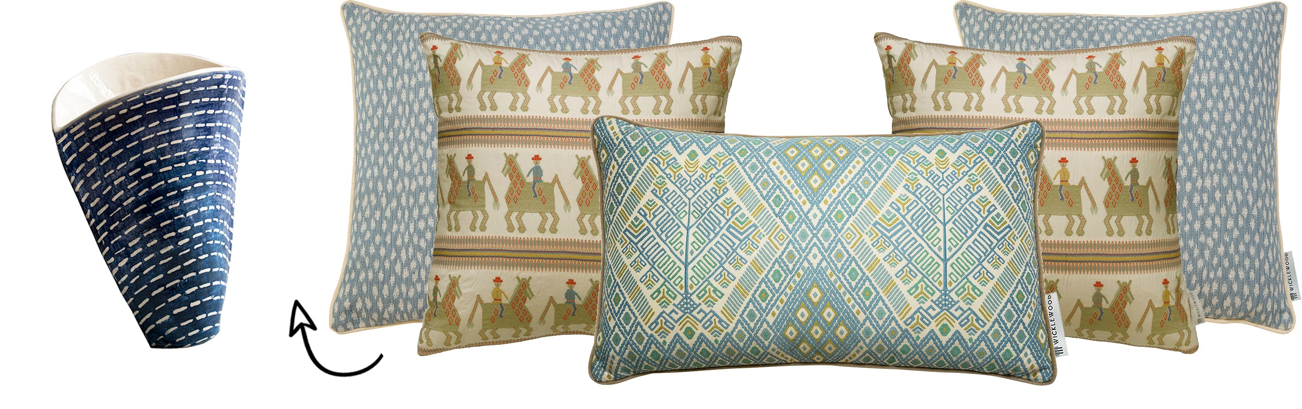 Wicklewood's top festive cushions combos, including this green scheme helping to inspire you to decorate your home differently this Holliday season.