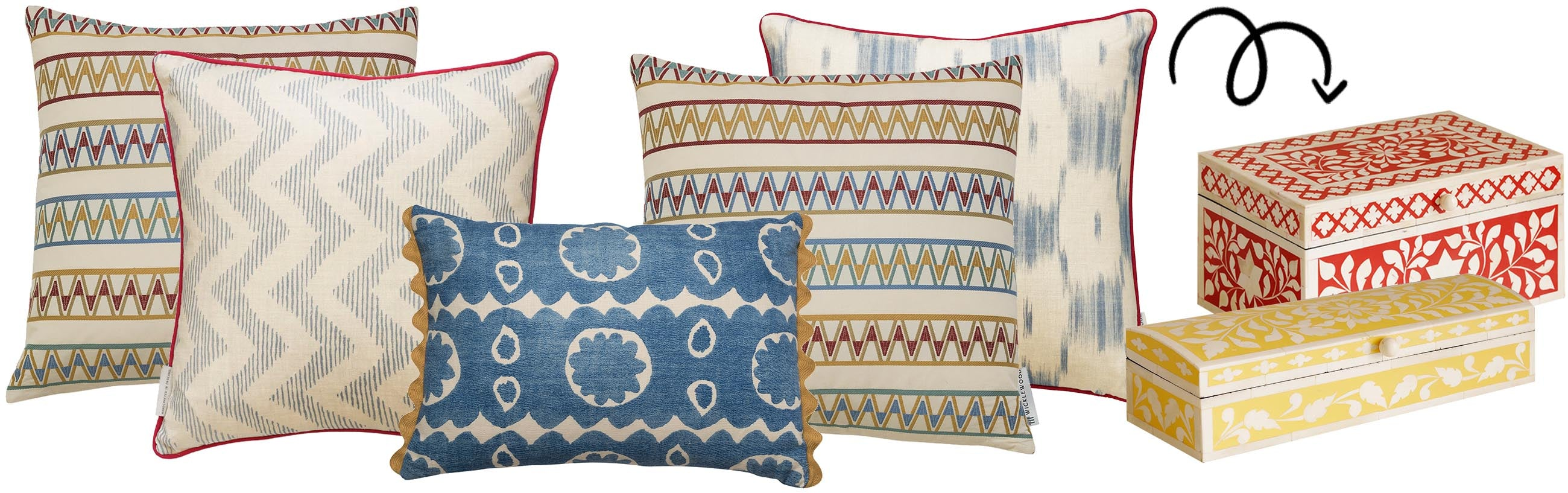 Wicklewood's top festive cushions combos, including a blue and red colour schemed, helping to inspire you to decorate your home differently this Holliday season.