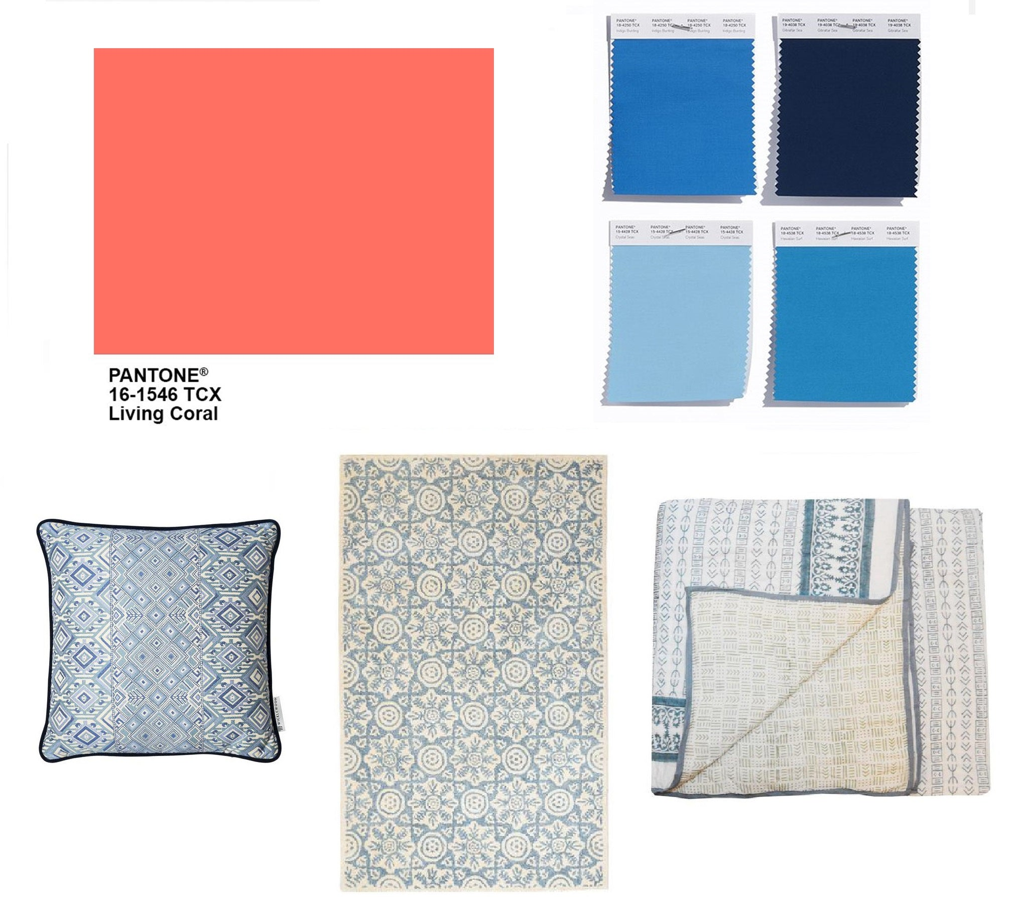 Pantone colour of the year, Living Coral, looks great combined with shades of blue. Bring this mix at home with our tree of life cushion, rossmore rug and reversible Indian quilt