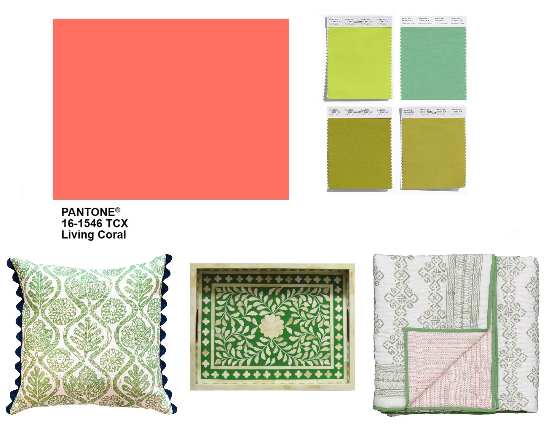 Pantone colour of the year looks great mixed with shades of green. Use it at home with our green cushions, inlay trays and block printed quilts