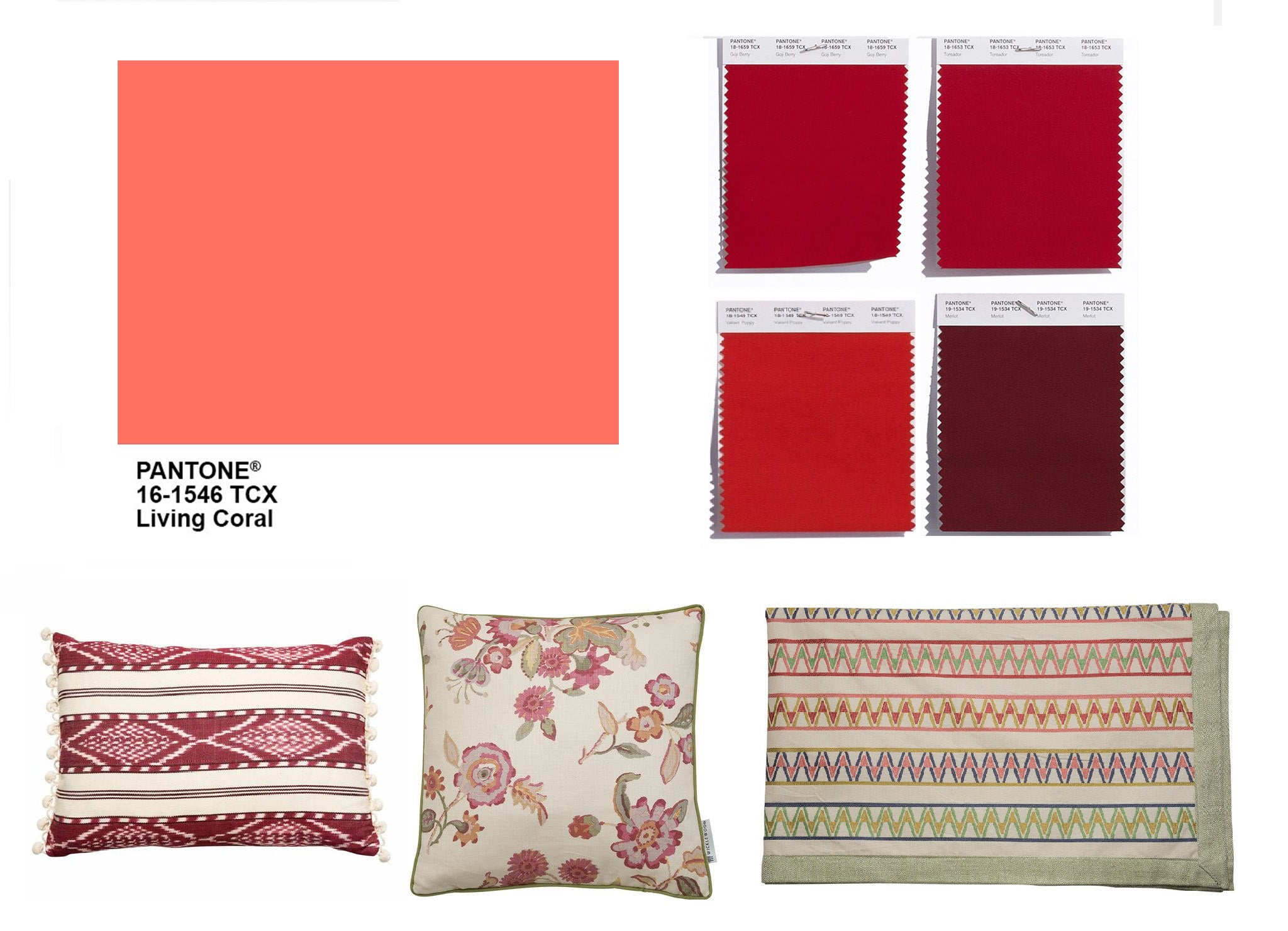 Pantone colour of the year, living coral is easy to combine with Wicklewood red and pink home accessories like the Hadleigh and Antigua cushion and the Palopo Throw