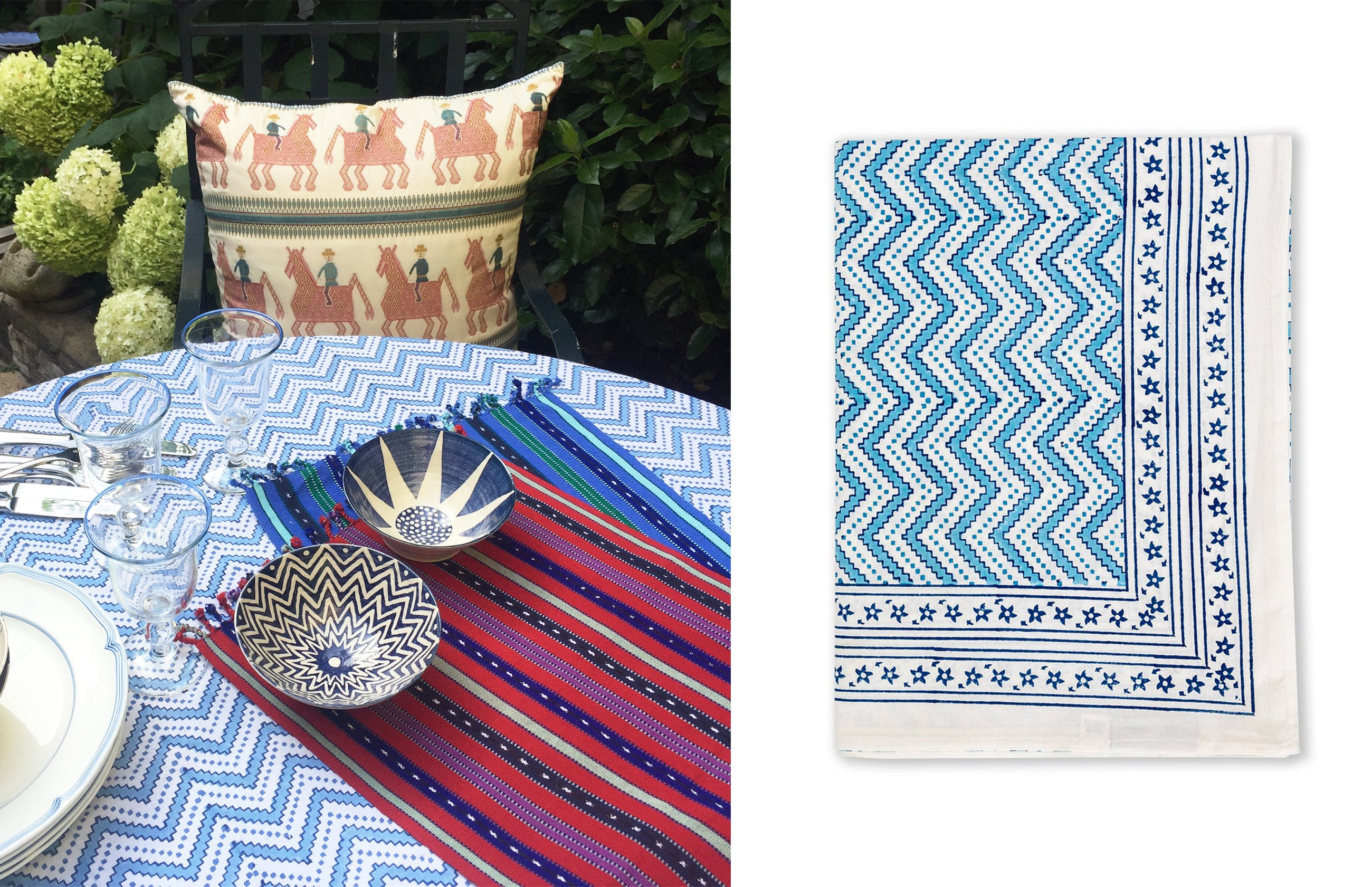 wicklewood hand block printed tablecloth, placemats and bowls
