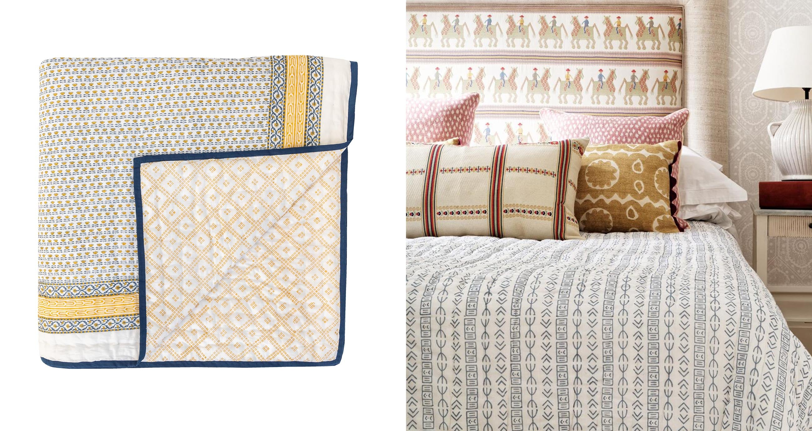 wicklewood quilts are reversible and hand block printed in india