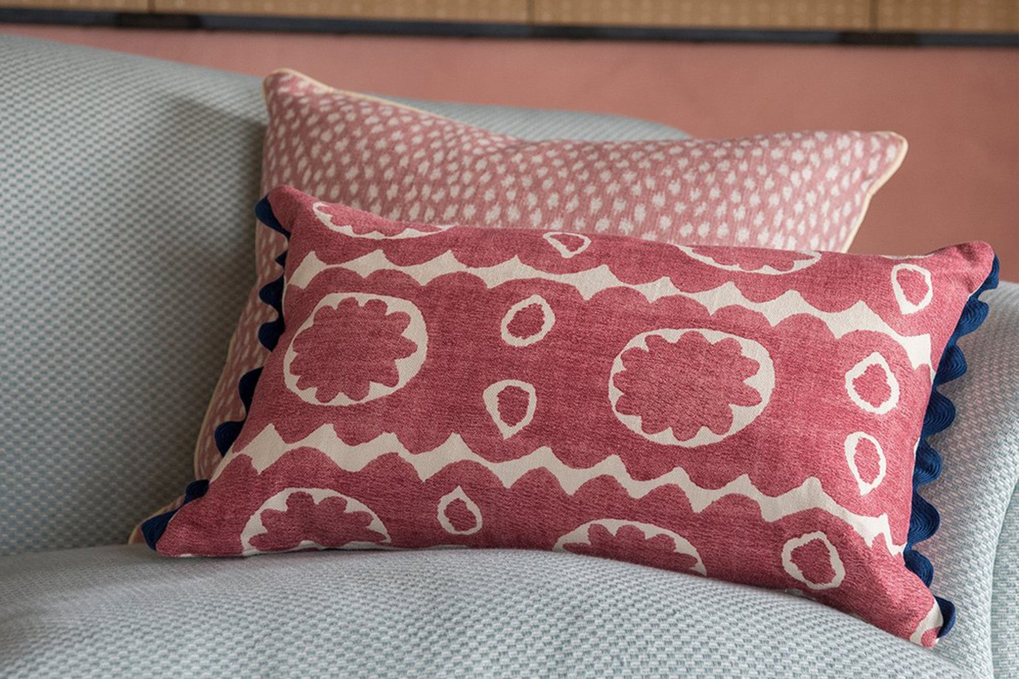 Wicklewood Osborne cushion in red and Kemble cushion in red