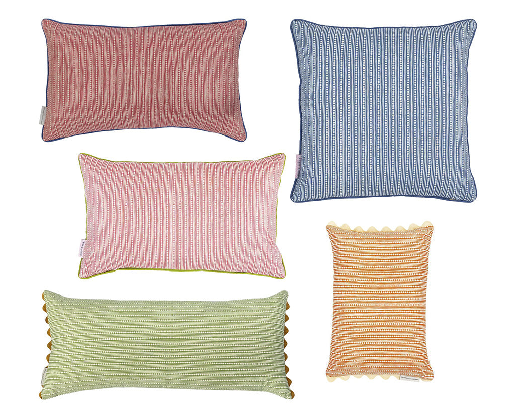 Wicklewood cushion customisation fabric backing options in red, blue, green, pink and orange WIcklewood fabric
