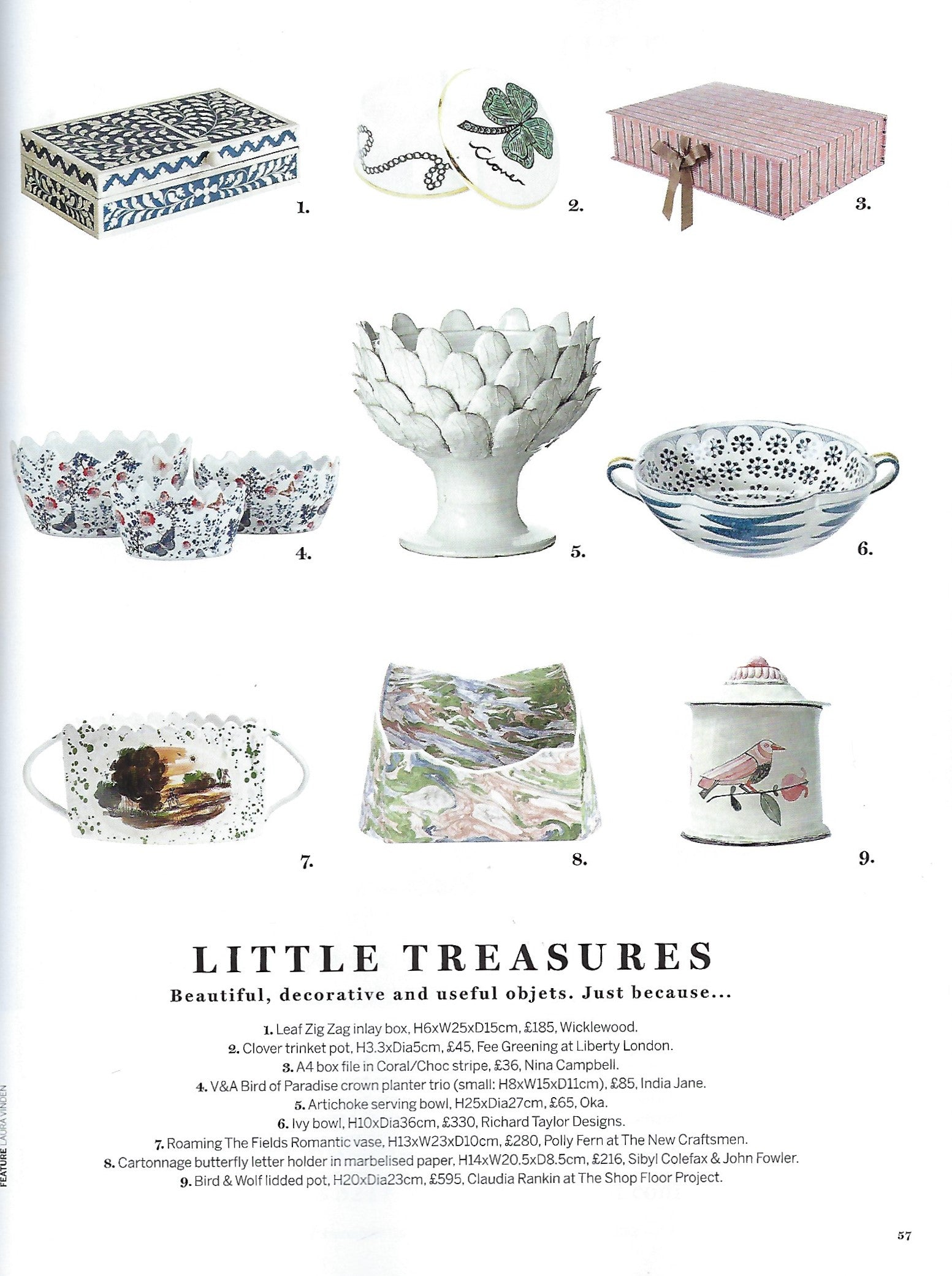 Wicklewood handmade blue bone and wood Indian inlay box featured in Homes & Garden March 2019 issue, in the Little Treasures article