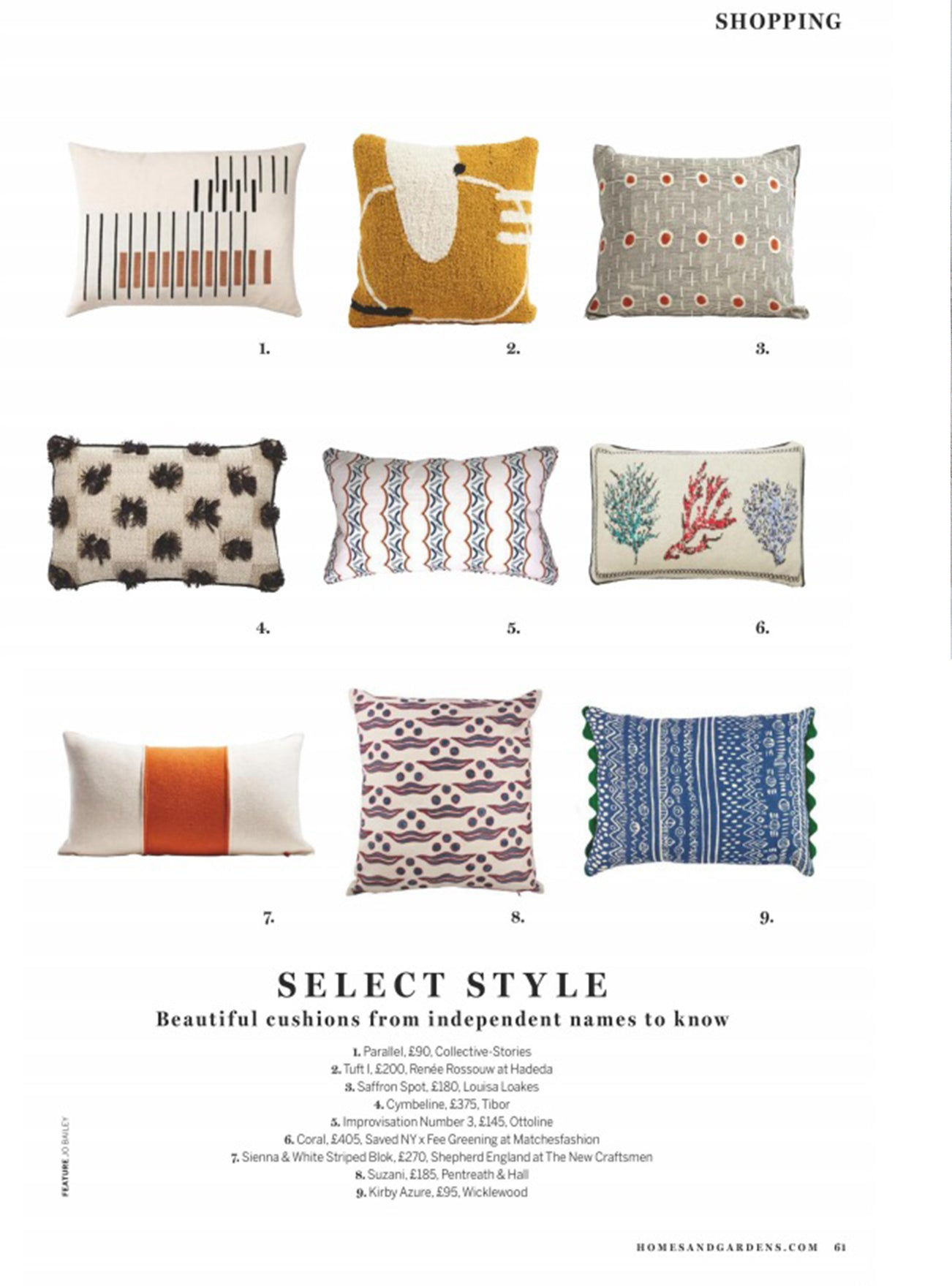Wicklewood kirby cushion featured in homes and gardens october issue