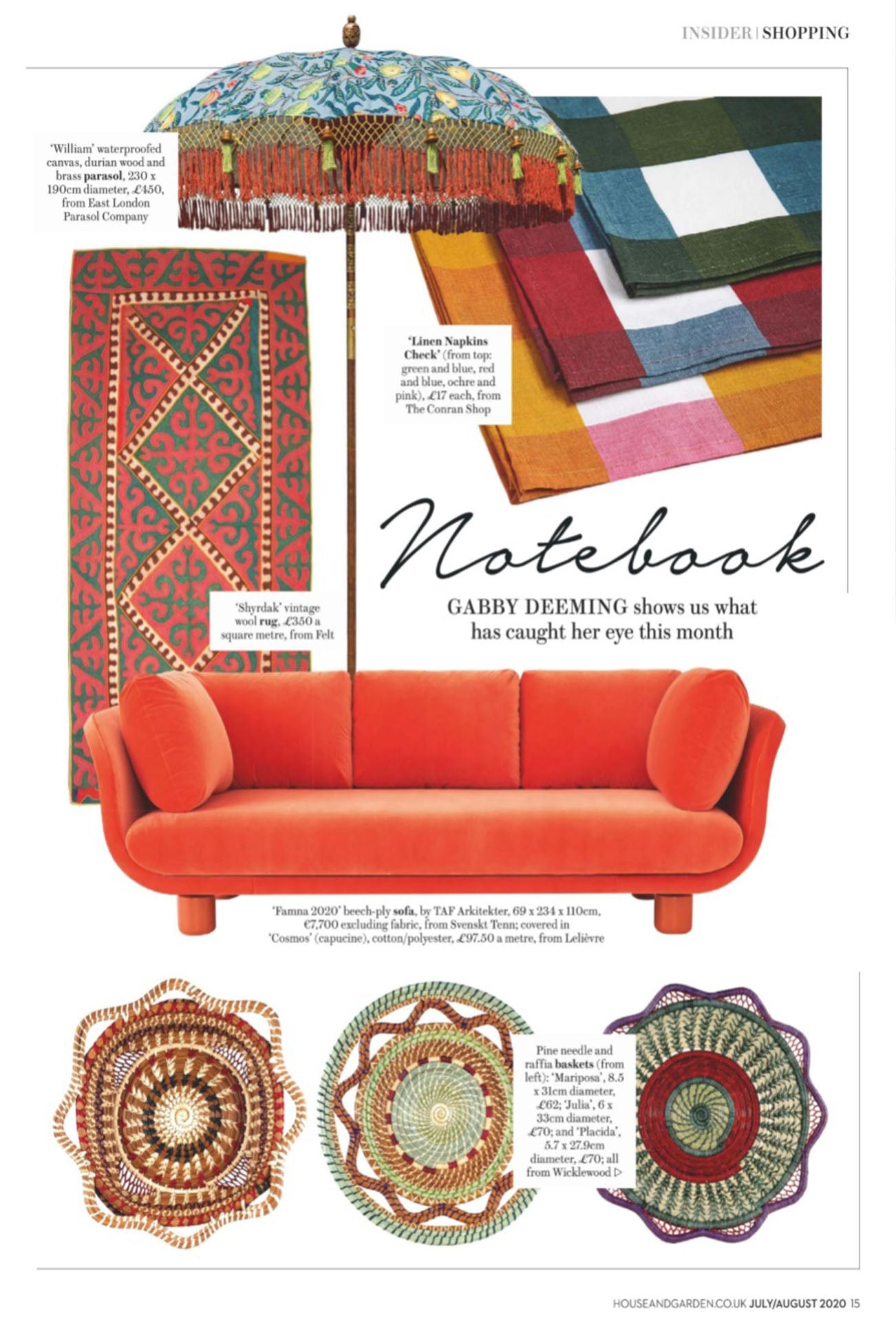 wicklewood handcrafted baskets featured in House and Garden July issue
