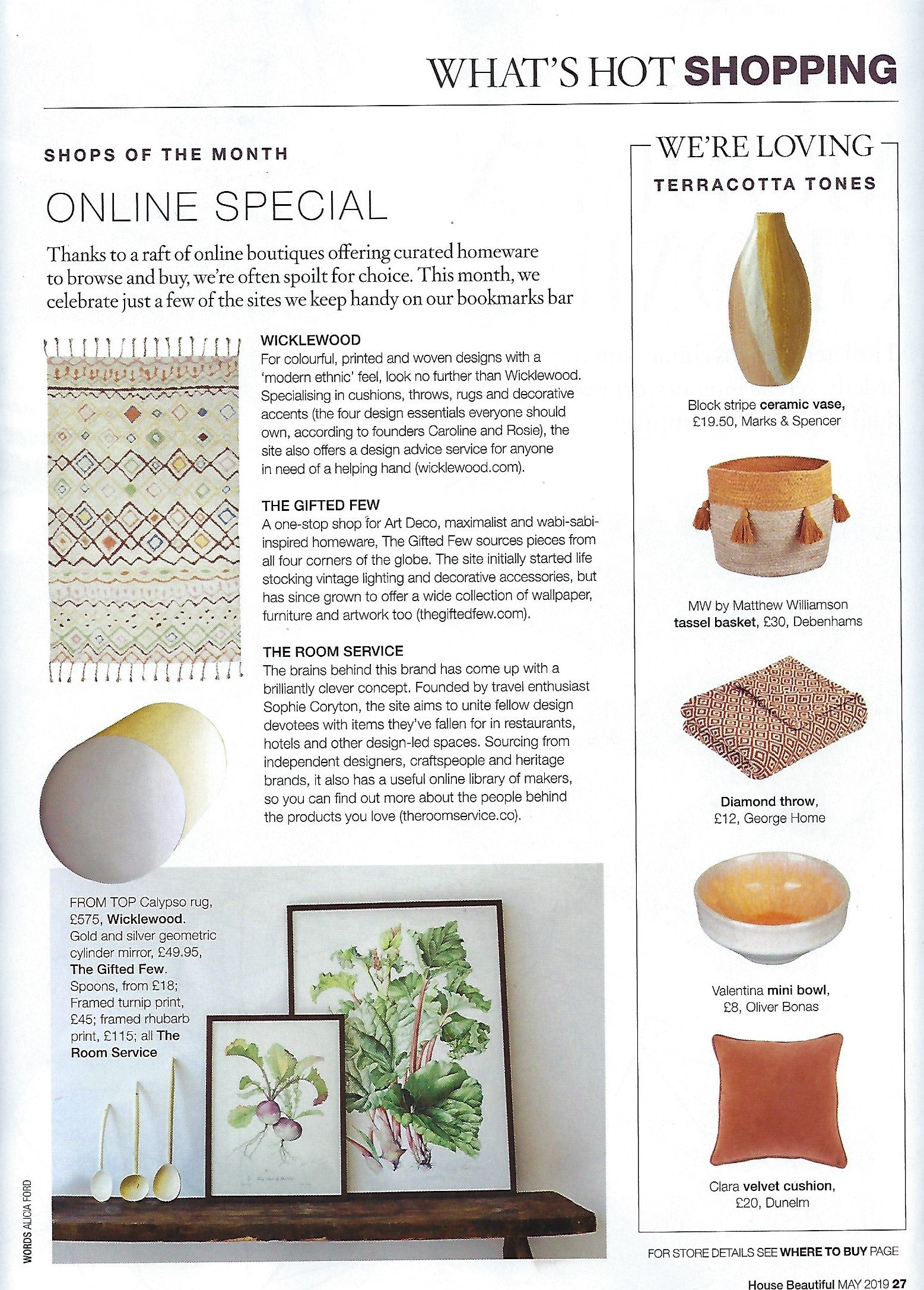 Wicklewood's Calypso Cushion features in House Beautiful's online special features in May 2019
