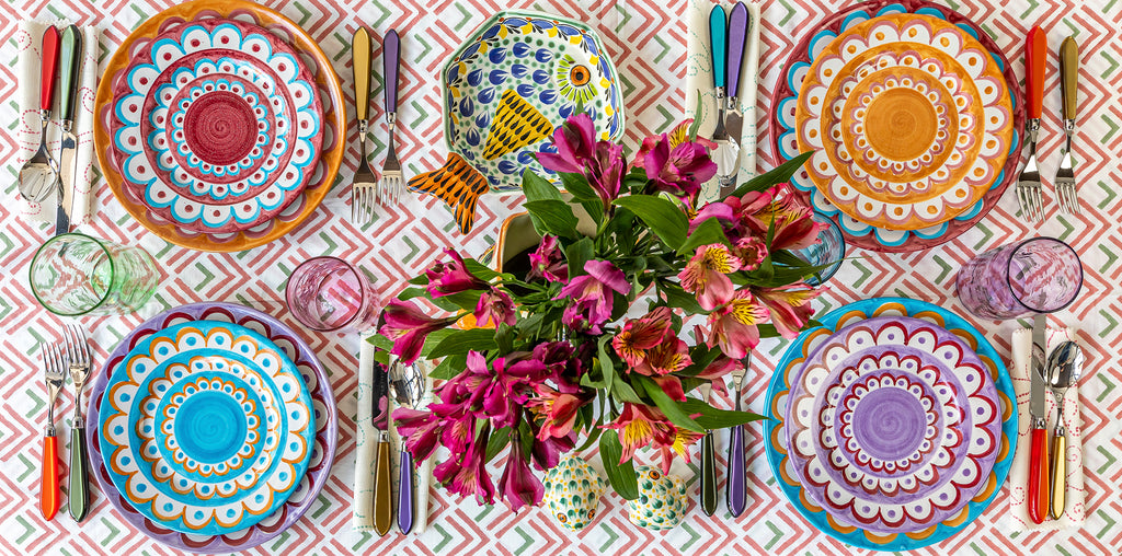 Brightly coloured scallop ceramic plates from Wicklewood London