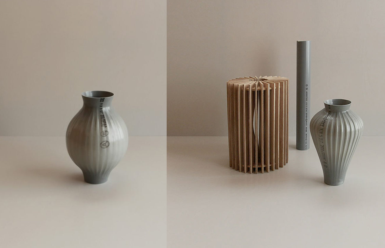 Vases created by Kodai Iwamoto using traditional hand blowing techniques in plastic
