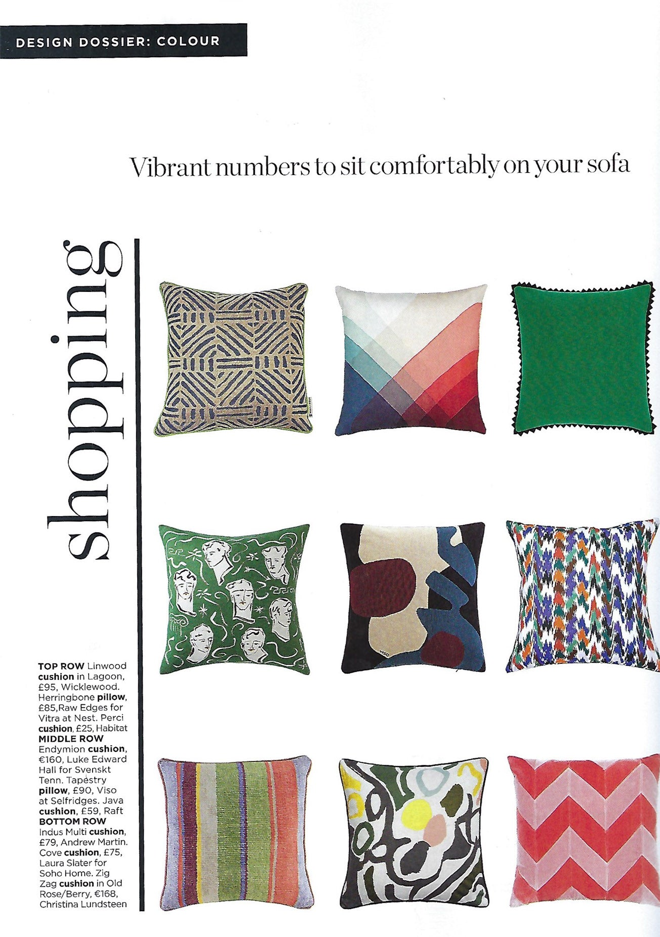 wicklewood linwood cushion featured in Living etc magazine