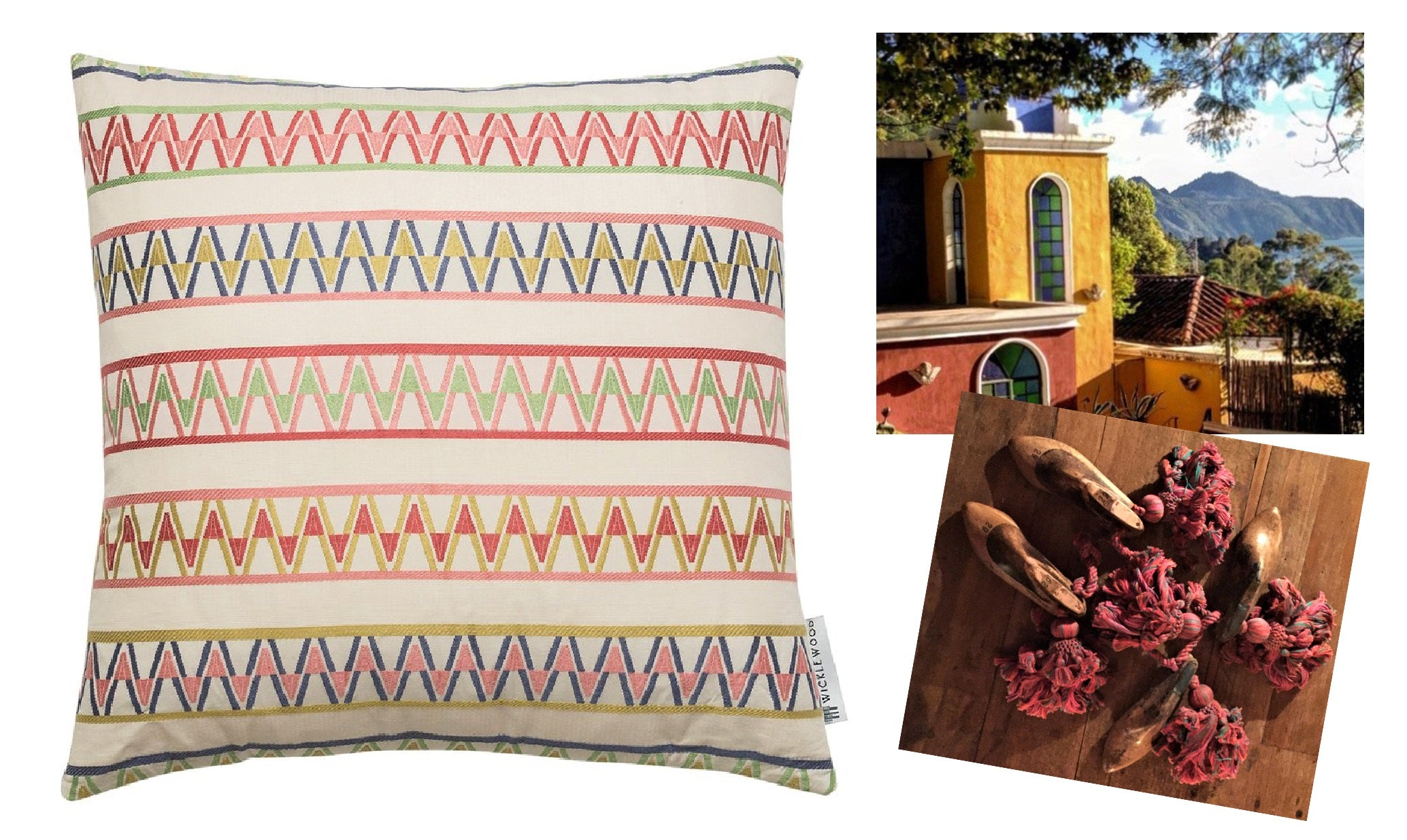 Our Palopo cushion was inspired by Casa Palopo, a beautiful hotel in Guatemala wih stunning views of Lake Atitlan