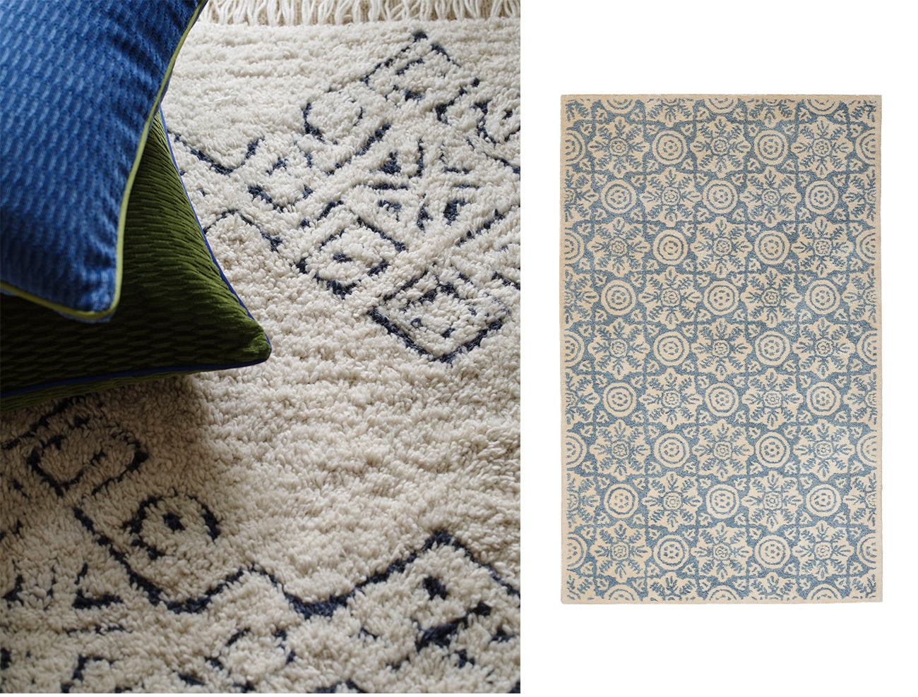 Wicklewood Mali and Rossmore rugs, both hand-tufted and woven in India these blue rugs are perfect for your living room or bedroom