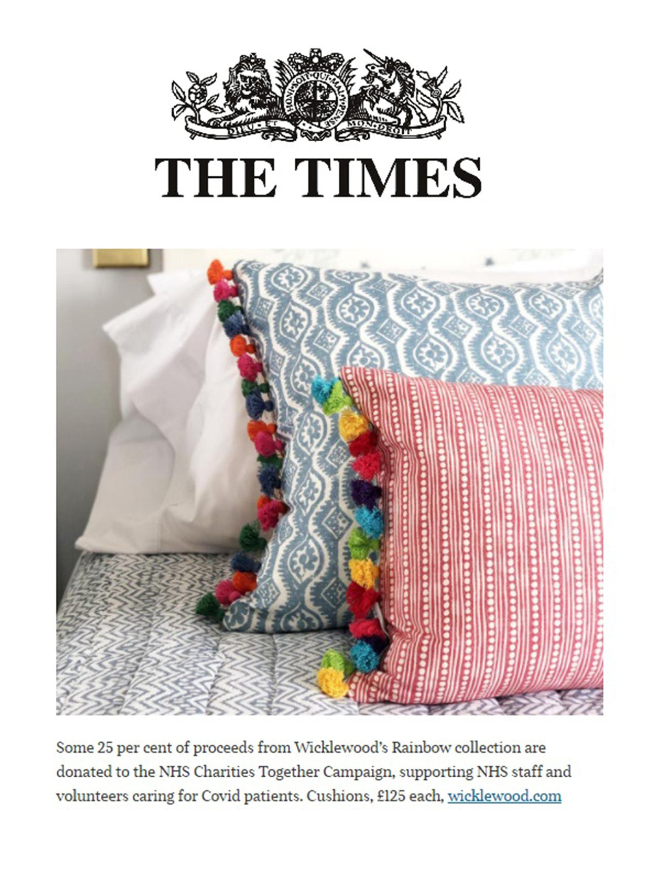 wicklewood rainbow collection featured in the times