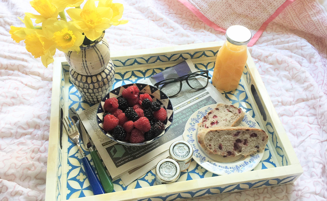 Valentine's breakfast in bed with our intricate Indian bone inlay trays and our one of a kind South African ceramics