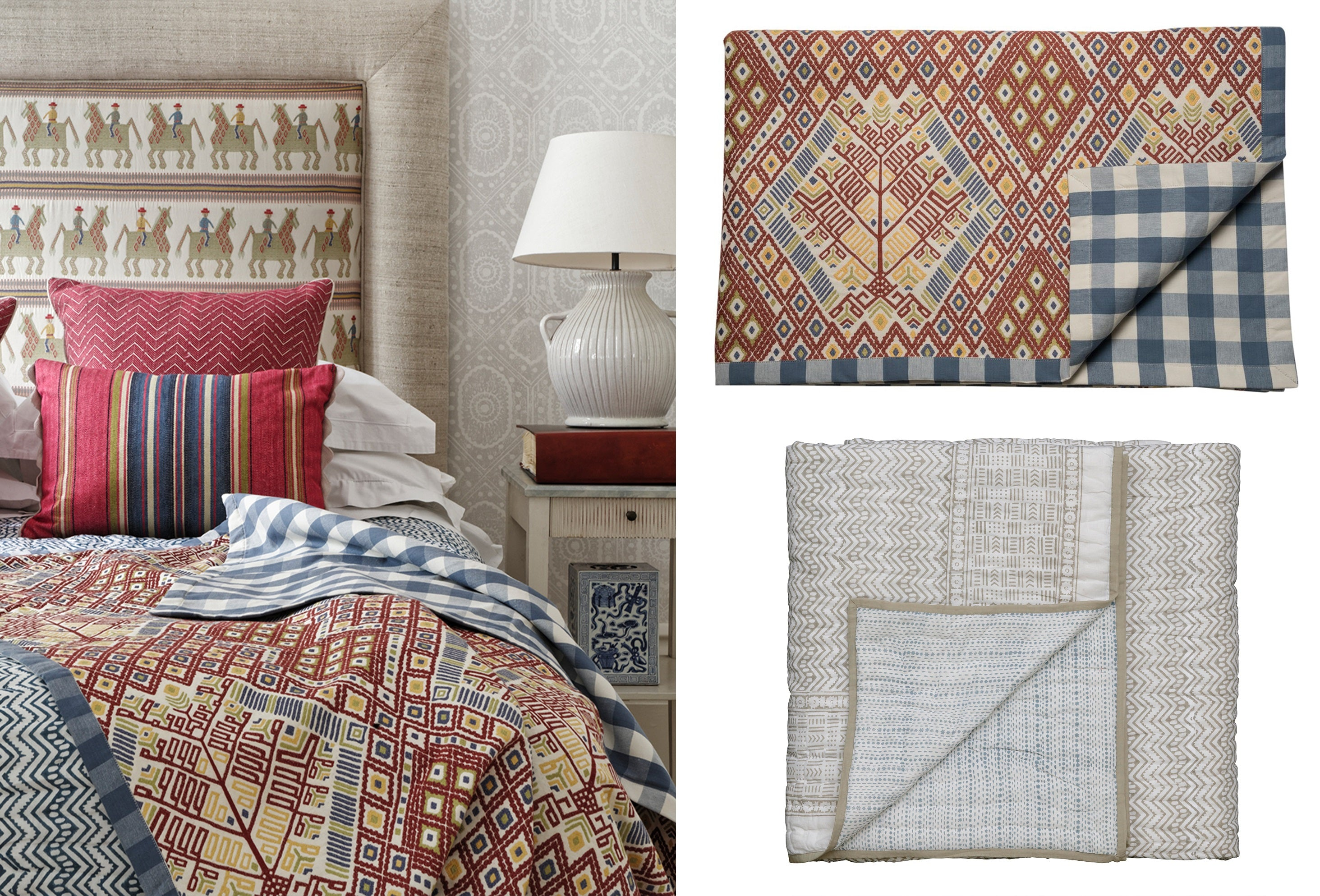 Wicklewood Guatemalan inspired reversible throws are perfect to combine with our reversible Indian quilts