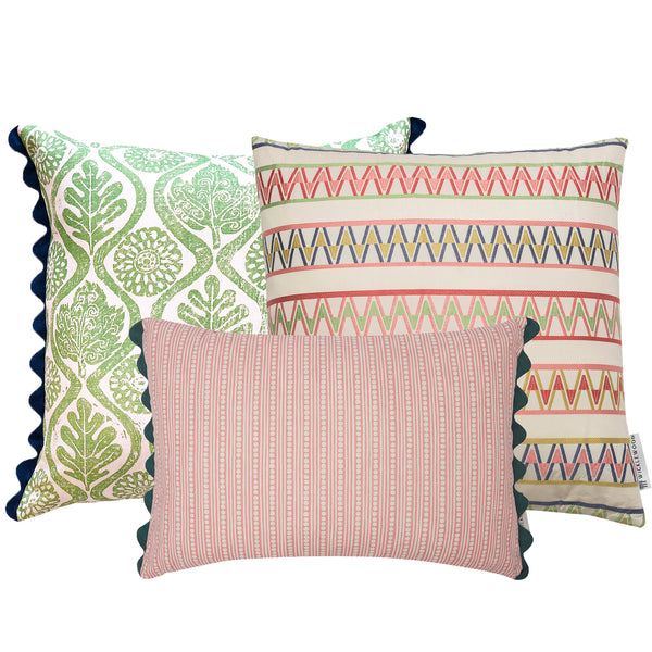 Wicklewood's light and bright pink and green spring cushion combination with square and oblong colourful throw cushions for your home