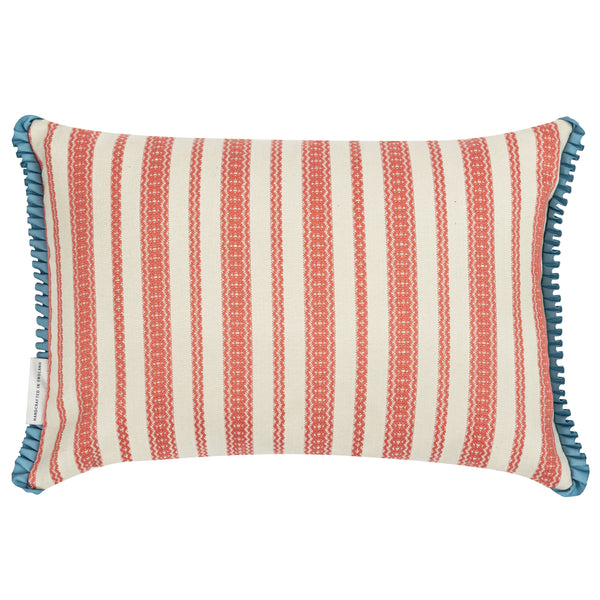 payson reversible striped cushion with ruffled trim