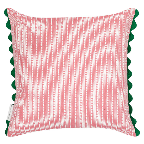 somerset floral reversible cushion in pink and green with scallop edg