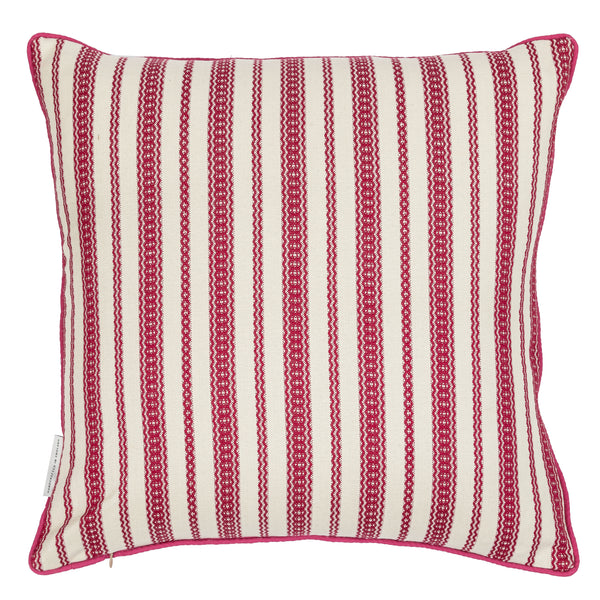 star embroidered reversible cushion in blue with striped back