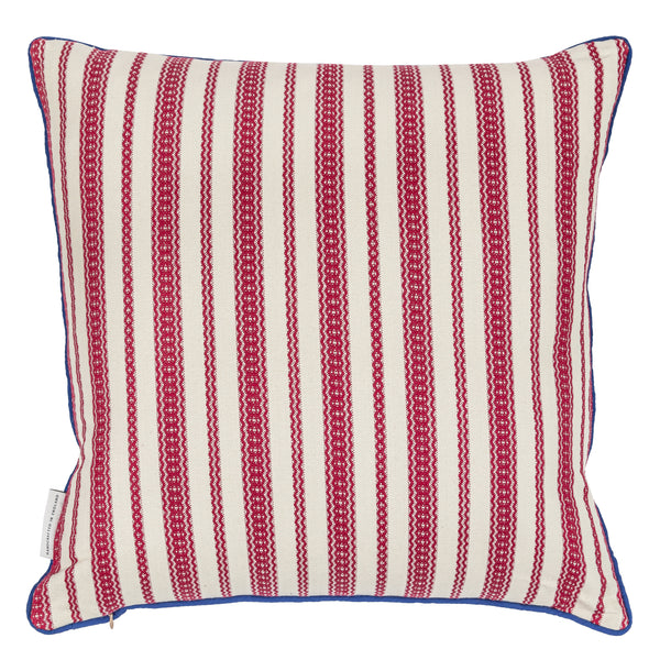 star embroidered reversible cushion in cream with striped back
