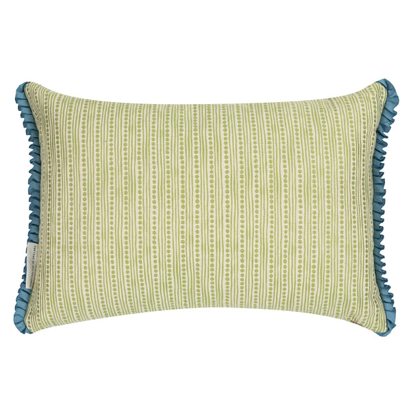 wickham dots and stripes reversible lime green cushion