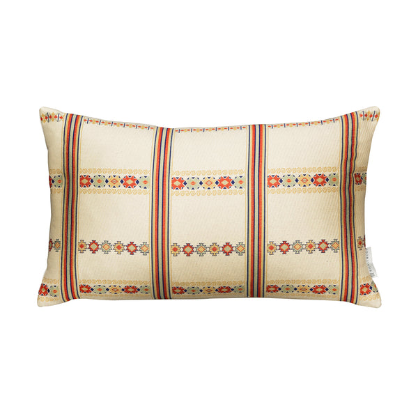 Wicklewood Lilly creaam oversized oblong cushion with red artisanal woven square down filled cushion with Guatemalan motifs and classic stripes.
