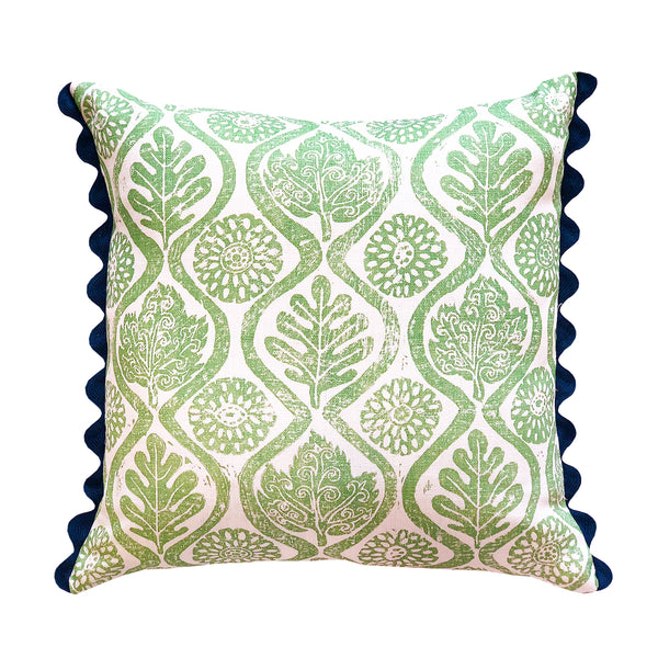 Wicklewood's bright green square cushions crafted from Blithfield's Oakleaves fabric