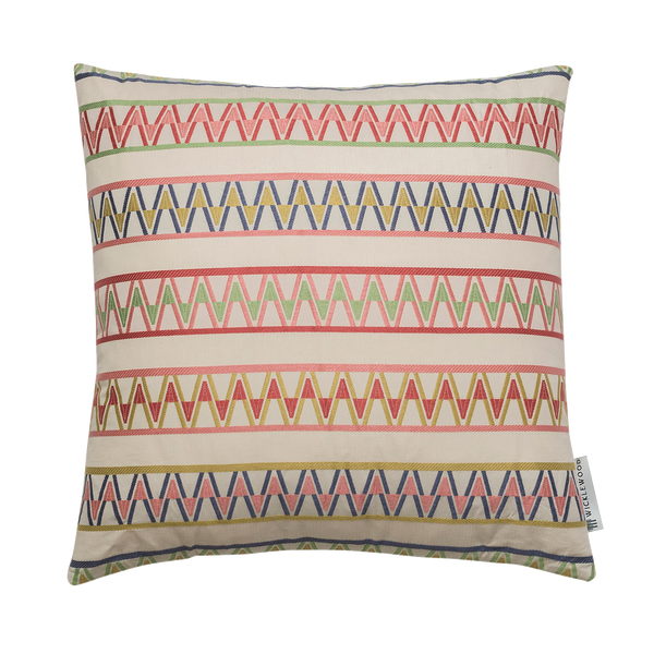 Wicklewood's pink square Palopo cushion with a woven zig zag motif