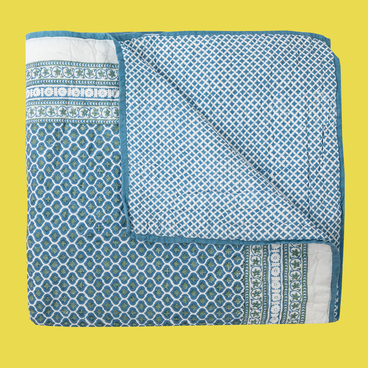 Wicklewood hand block printed bed quilts in 100% machine washable cotton