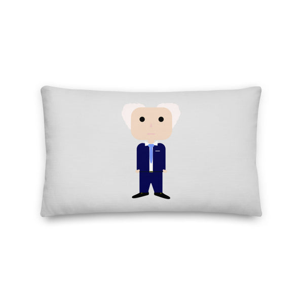 A premium pillow with a cartoon image of former Israeli Prime Minister David Ben Gurion in a blue suit with blue tie