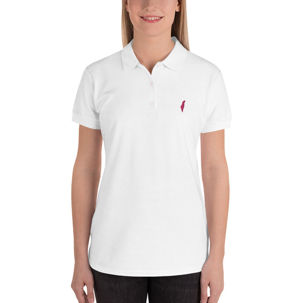 Embroidered Israel Map Women's Polo Shirt