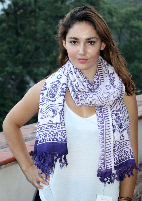 Purple and White Mixed Batik Fabric Cotton Shawl - nepacrafts