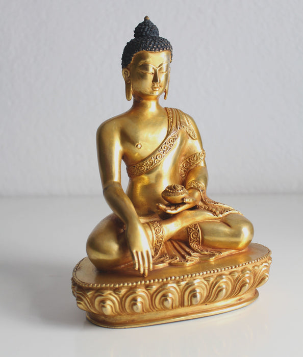 "Fully Gold Plated Majestic Shakyamuni Buddha Statue, 8""High -BST381 - nepacrafts"