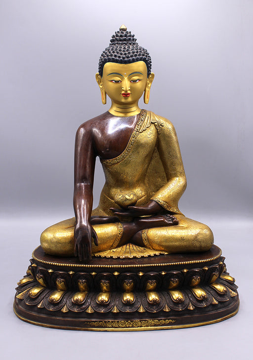 Partly Gold Plated Shakyamuni Buddha Statue in Monastic Robe With Floral Motifs