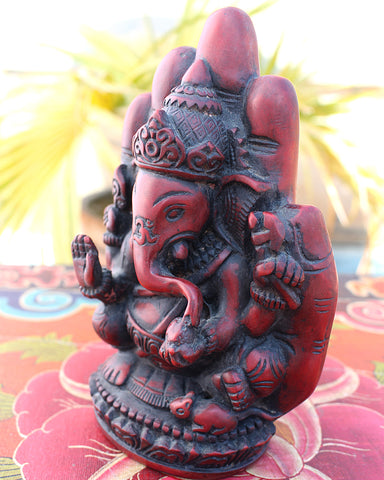 "Coral Toned Resin Ganesha Statue with Blessing Palm 6"" High - NepaCrafts"