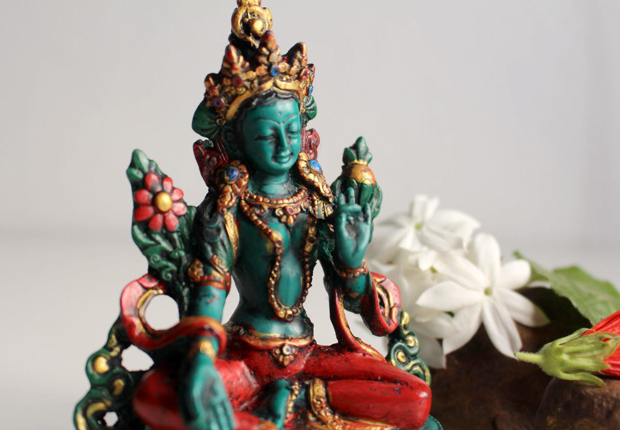 Green Tara Turquoise and Coral Shaded Statue