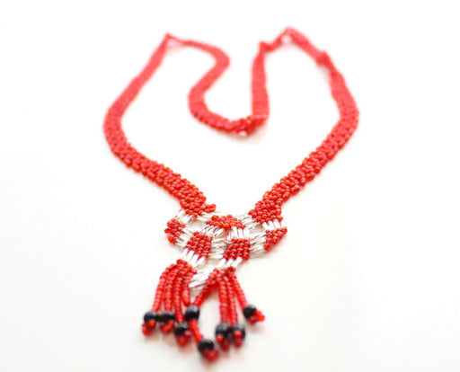Crocheted Red Glass Beads Women's Necklace - nepacrafts